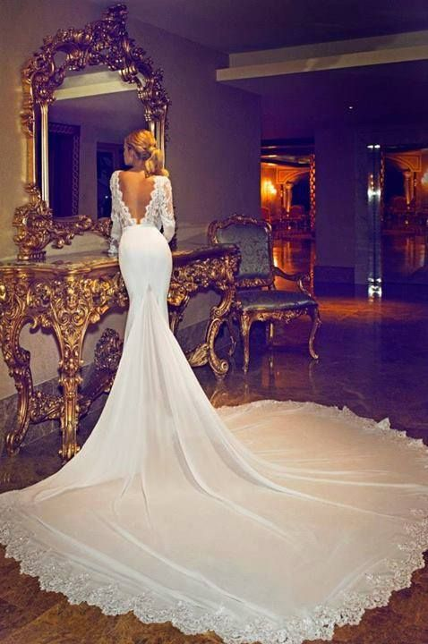 backless, bride, lace and train