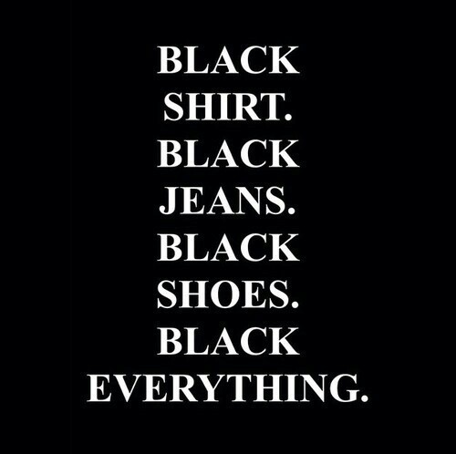 black, everything, jeans and shirt