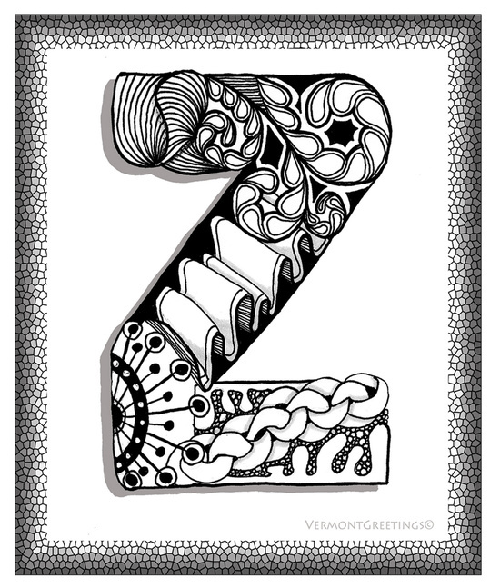 zentangle z monogram alphabet illustration
