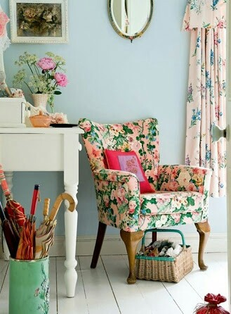 armchair, beautiful, blue and colorful