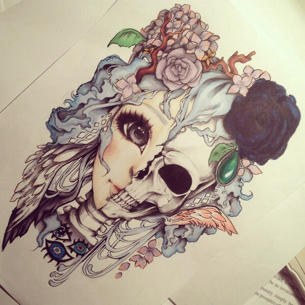 Cute drawing girl pretty skull tumblr image for Beautiful drawings tumblr
