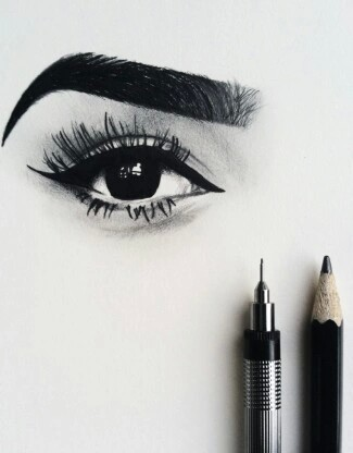 black and white, drawing, eyebrow and eyes
