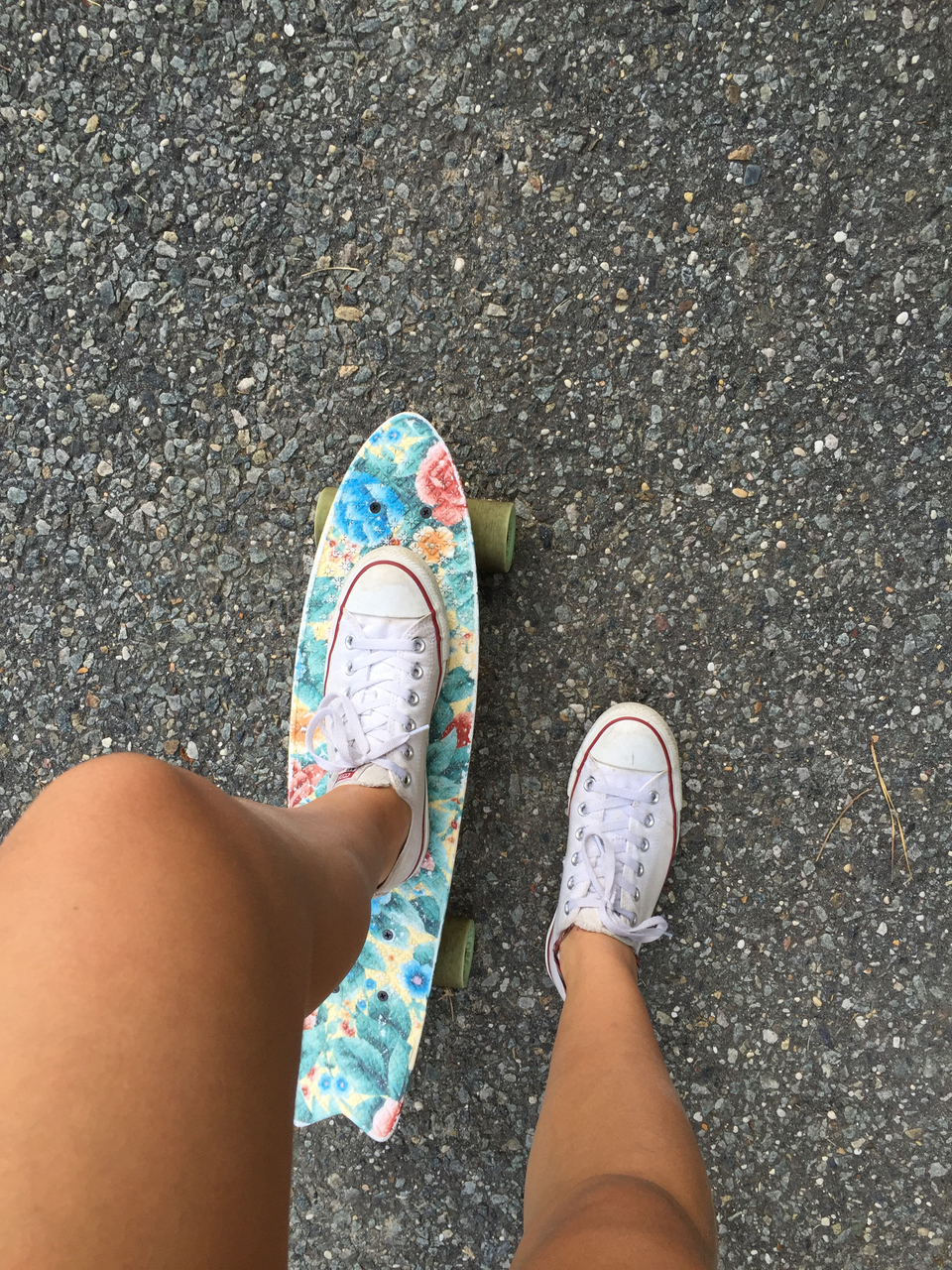 background, converse, cool, floral, globe, goals, legs, love, penny board, pretty, print, road, skate, skateboarding, summer, tan, white