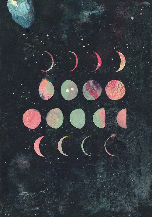 moon, phases, planets, space, stars