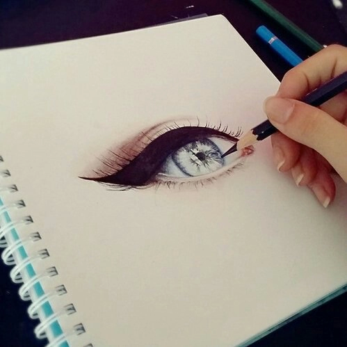 color, cool, draw, drawing, eye, eyes, girl, yeux