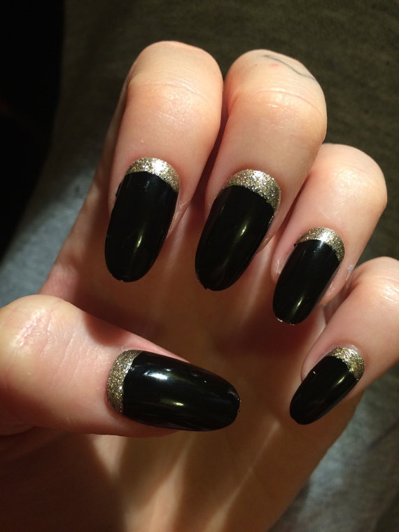 Black And Gold Glitter Nails Tumblr