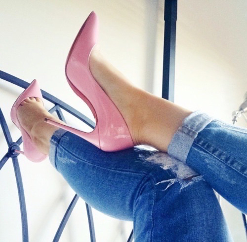 christian louboutin, fashion, heels and jeans