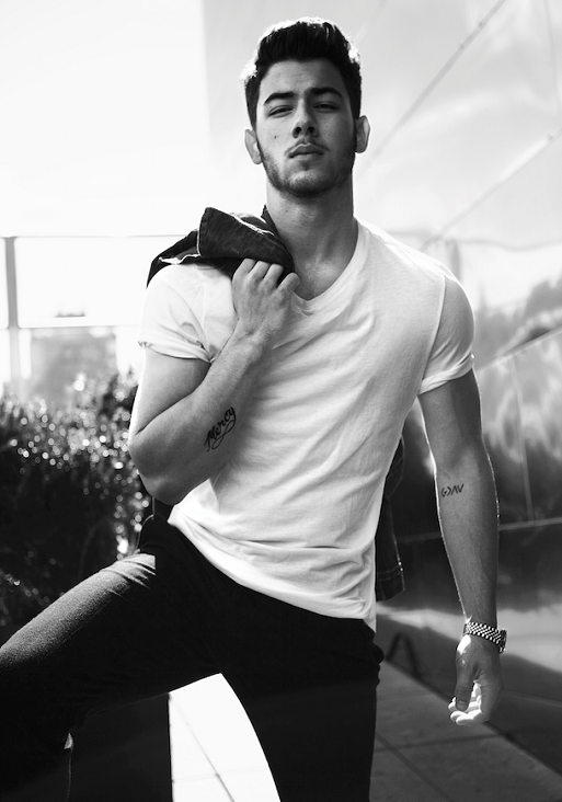 black and white, boy, hot, jeans, magazine, muscle, nick jonas, style