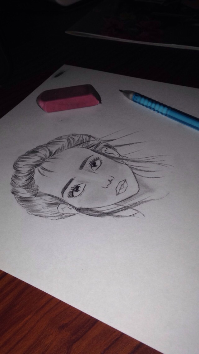 black and white, eyes, sketched and bun