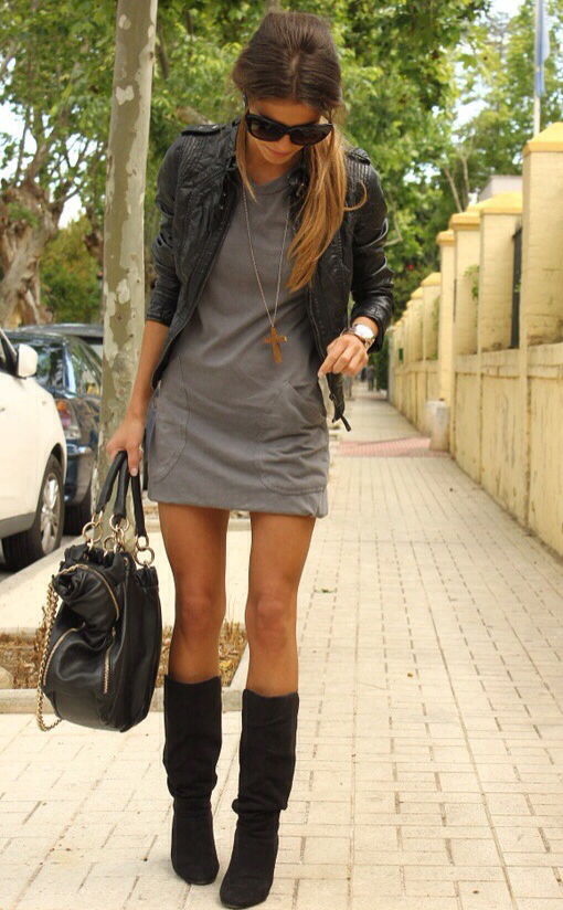 bag, black, blonde, boots, casual, chic, clothes, cool, diva, dress, fashion, girl, good, gray, grey, leather jacket, legs, look, nice, outfit, outfits, perfect, rebel, rock, street style, style, sunglasses, woman, women, ootd