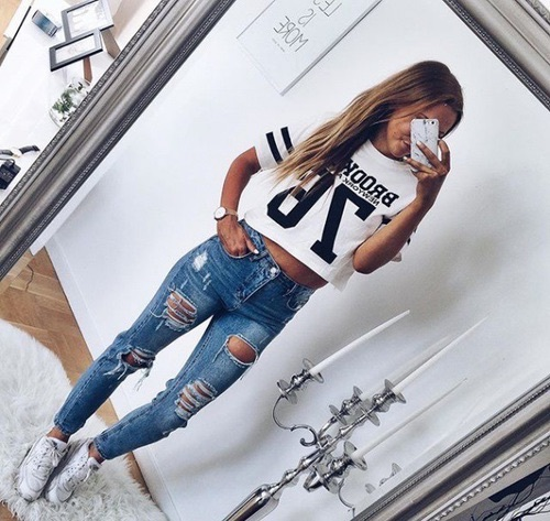 black and white, fashion, ripped jeans, style, ootd