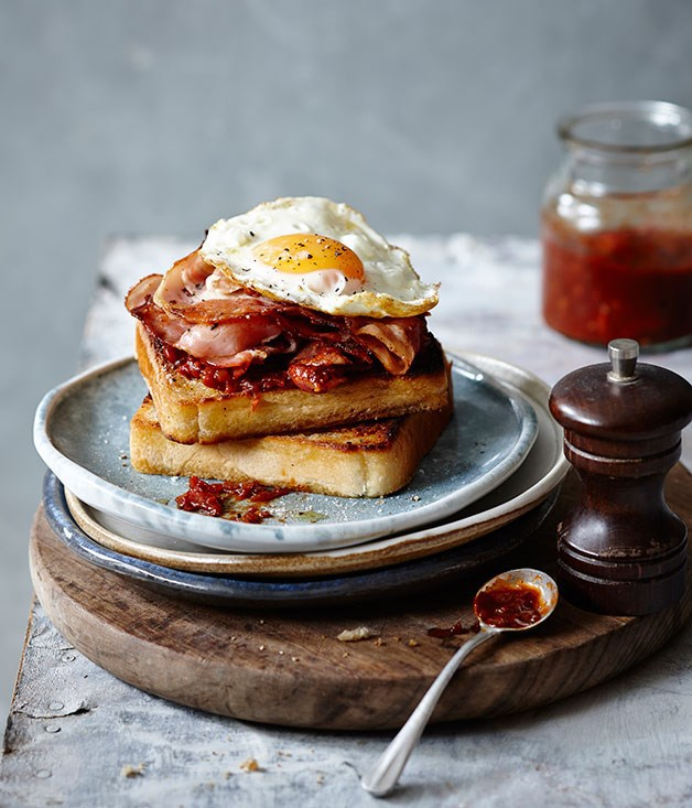 bacon, breakfast, egg and food