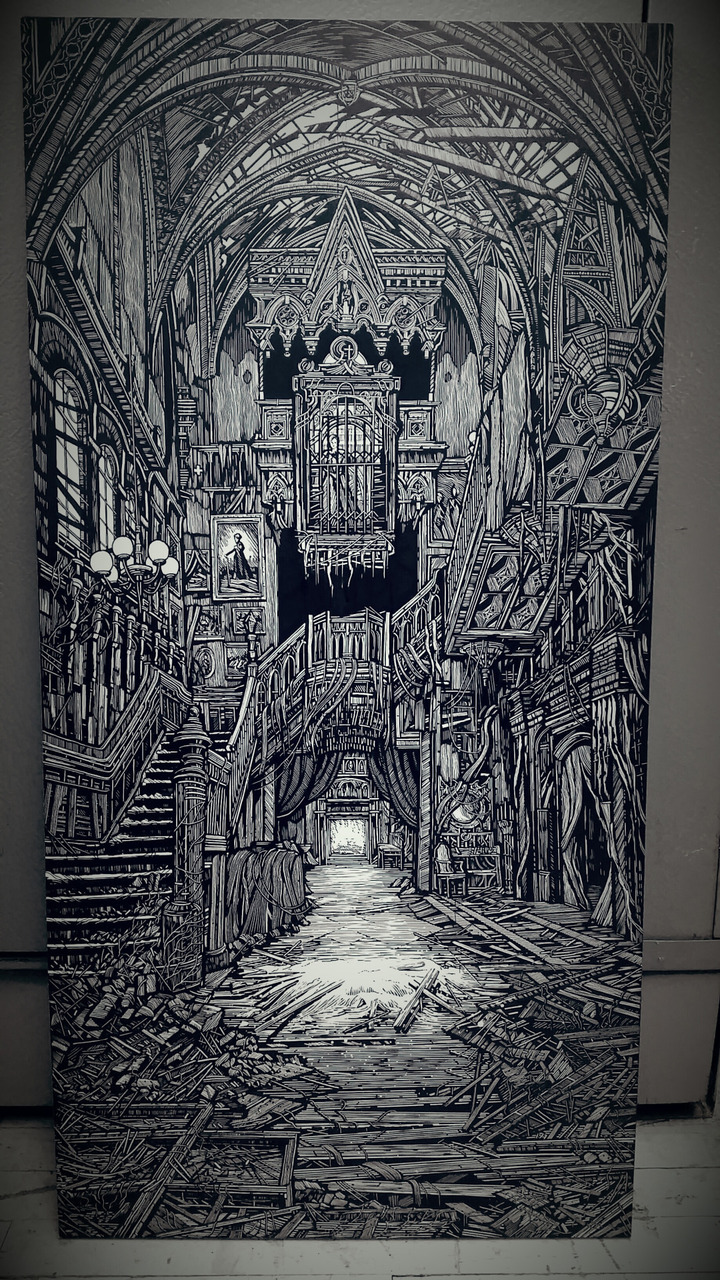 abandoned, art, black and white and drawing
