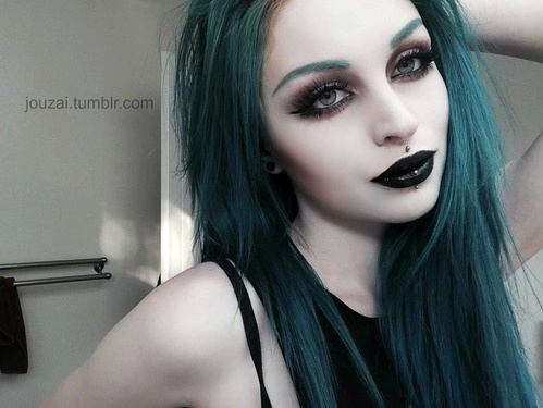 Beauty Black Goth Gothic Green Hair Image 3598762