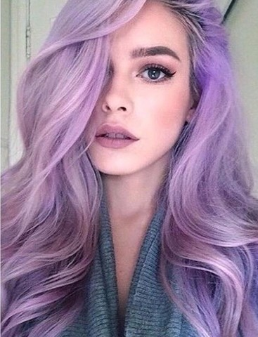 awesome hair, curled, cute, lavender, makeup, hair goals