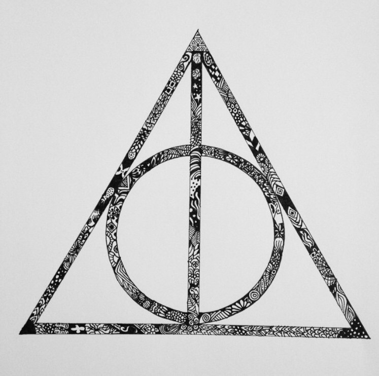 art, books, cape, circle, deathly hallows, harry potter, line, movies, stone, triangle, wand, zentangle