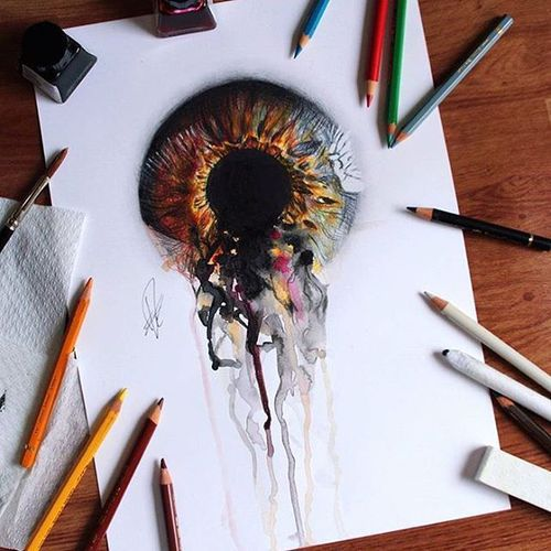 art, colors, drawing and eye