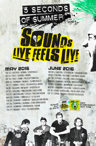 5 seconds of summer, 5sos, album, arena, concert, denmark, europe, finland, france, germany, holland, italy, norway, portugal, spain, sweden, tour, sounds good feels good, sounds live feels live