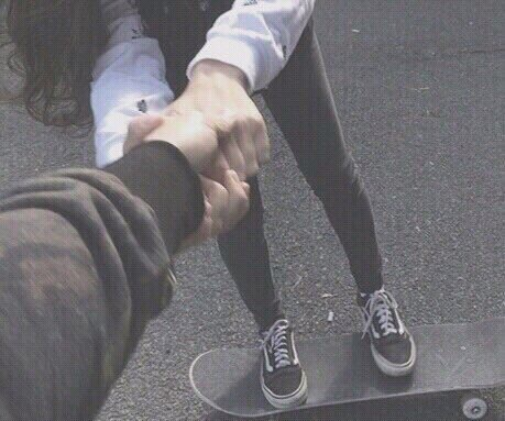 black and white, couple, cute, holding hands, skateboards - image ...
