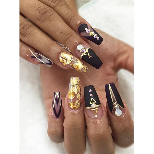 black nails, fall colors, fancy and glitter