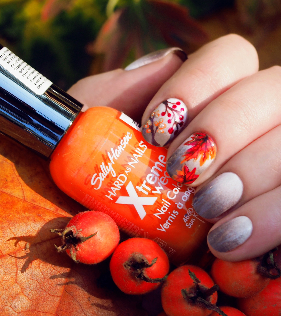 autumn, berries, branch, branches, brown, gray, leaves, manicure, maple, maple leaves, nail, nail art, nails, october, orange, red, rowan, sally hansen, tree, trees, white, yellow