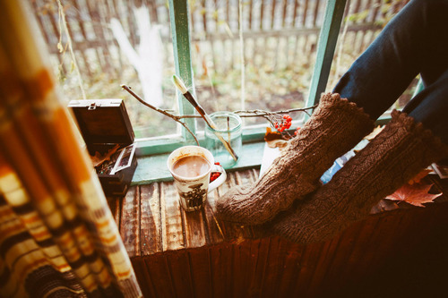 autumn, coffee, leaves, socks