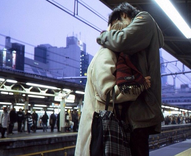 couple, cute, love, photography, train, train station
