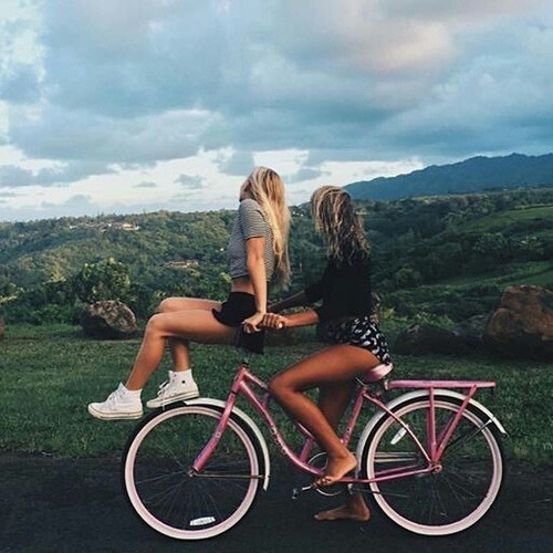 best friends forever, bff, bicycle, bike, friends, girls, landscape, love, pink, time friends