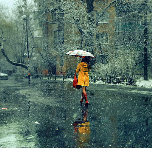 autumn, fall, girl, girls, rain, street, umbrella, walk