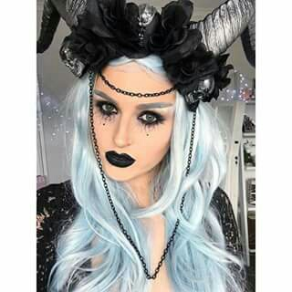 blue, costume, dark, fairy, halloween, horns, makeup, pretty, shaaanxo