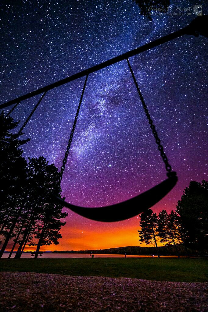 beautiful, dream, fantasy, glowing, illustration, imagination, indigo, moon, night, photography, sky, stars, sunrise, sunset, swing