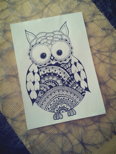 art, b&w, black and white, cute, doodle, draw, drawing, eule, owl, selfmade, sketch, sweet, tribal, zeichnen, zeichnung, zentangle, doodle drawing