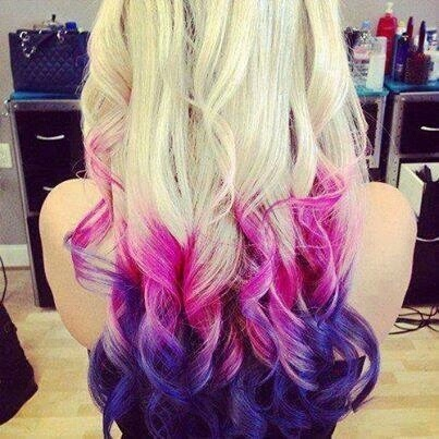 blonde, curled, dyed hair, hipster, pink and purple ends, did dyed