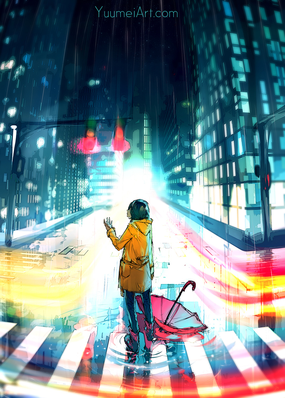 amazing, anime girl, art, beautiful, city, night, rain, reflection, scenery, sky, umbrella, water, yuumei (artist)