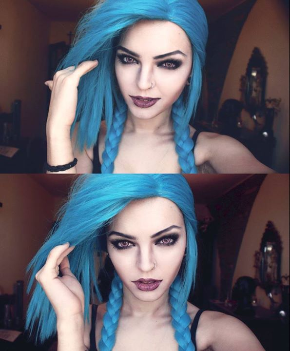 beauty, cosplay, girl, jinx, league of legends, make up, makeup