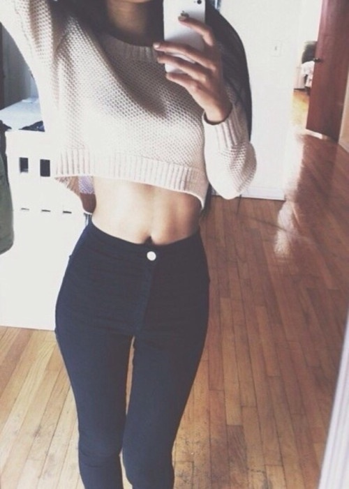 black, crop top, cute, fashion, fit - image #3800290 by ...
