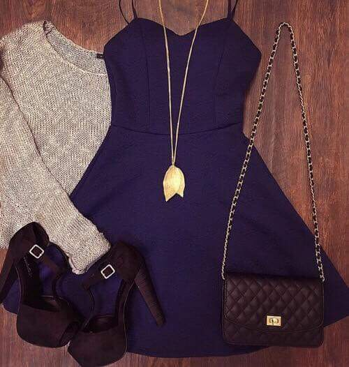 autum, bag, chanel, chanel bag, cold, dress, fashion, fashion girl, fashionista, girly, high heels, little black dress, necklace, party dress, shoes, sweater, sweater weather, winter, chanel bagg
