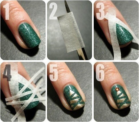beauty, celebration, christmas, christmas time, christmas tree, december, dot, dots, gold, green, happy new year, holiday, holidays, merry christmas, nail art, nails, new year, spruce, striped, stripes, manicur, fir-tree, spruce christmas