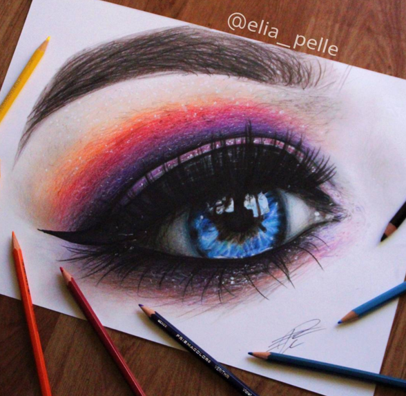 art, blue eyes, colors and draw