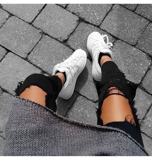 new concept e427a 6c980 grey jersey, knit wear, legs, nike, nike air, ripped jeans,