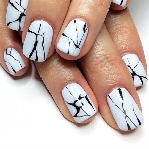 Blacku0026white Marble Nail Nail Art Nails - Image #3851620 By Marine21 On Favim.com