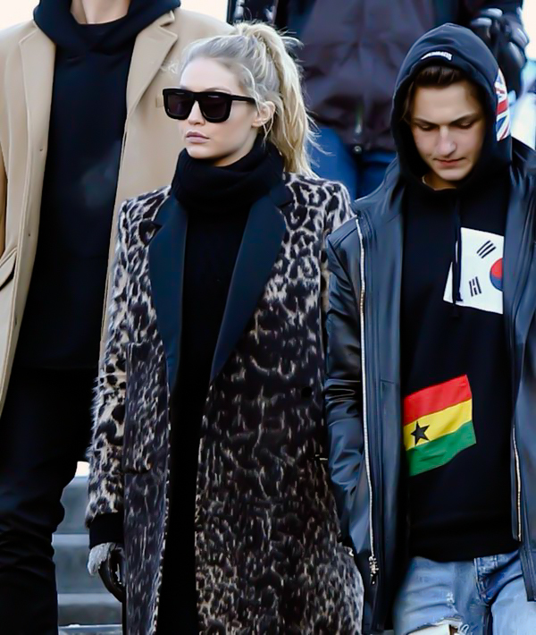 celebrity, coat, famous, fashion, flags, gloves, goals, hoodie, leopard, model, ponytail, siblings, street style, style, weheartit, gigi hadid