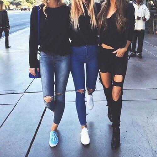 ankle boots, best friends, legs, nike shoes, ripped jeans, skinny jeans, sweater weather, vans, winter style, tanned toned bodies, denim grunge fashion, black sweaters, street styke, tripe threat