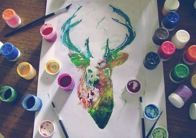 art, colours, creativity, deer, hipster, indie, paints, rainbows, tumblr, typo, watercolours