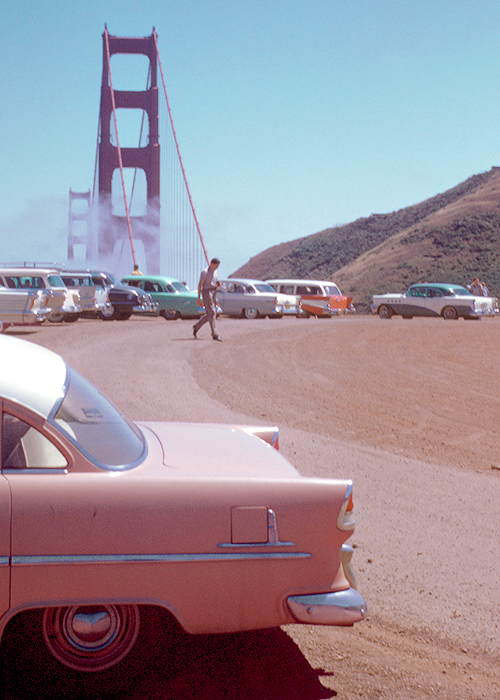 50s, 60s, classic, golden gate bridge, grunge, lights, old car, pale, pastel, peach, picture, san francisco, soft grunge, travel, vintage