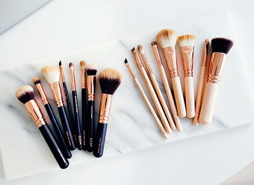makeup brushes, rose gold, rose gold brushes, zone a