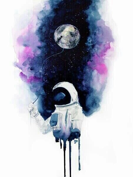 astronaut, blue, drawing, outer space, paint, painting, pink, purple, space, water color