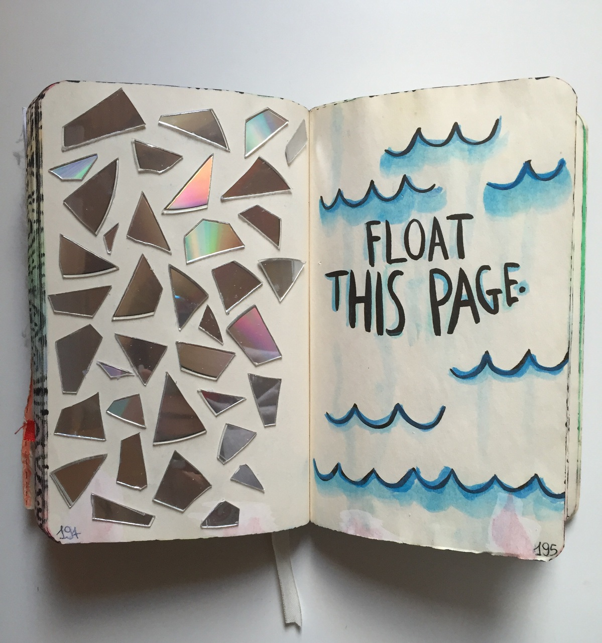 blue, book, cd, cds, color, destroy, draw, float, journal, keri smith, waves, white, wreck, wreck this journal, wreck it, float this page