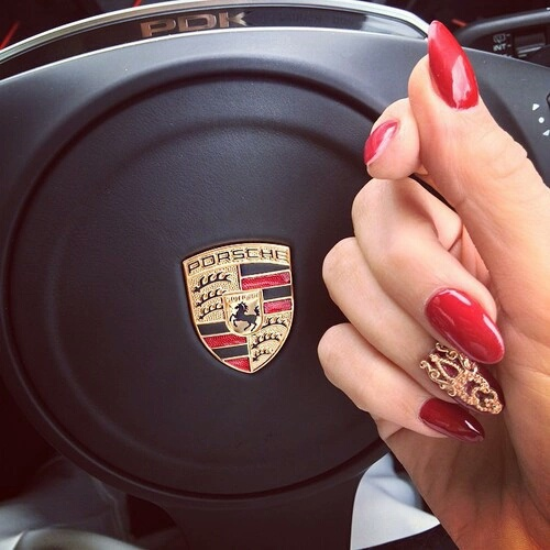 gold, loveit, nails, porsche, red, malovee