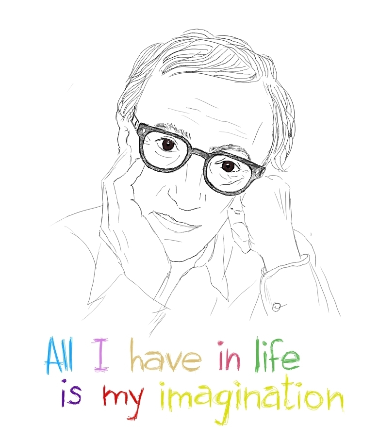 abhijita, art, illustration, imagination, woody allen 